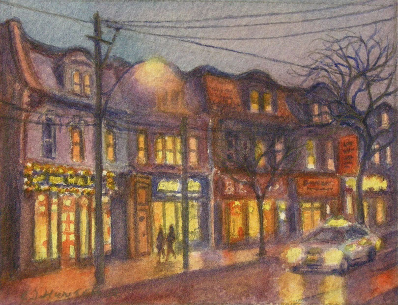 Queen Street with Shops and Taxi by E. Jane Hunter