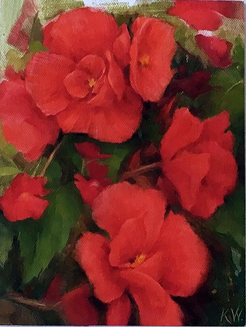 Red Begonias by Kerri Weller